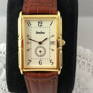 Neiman Marcus Gold Tone Leather Tank Style Watch